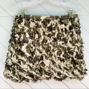 J. Crew Silk Camo Ruffle Skirt